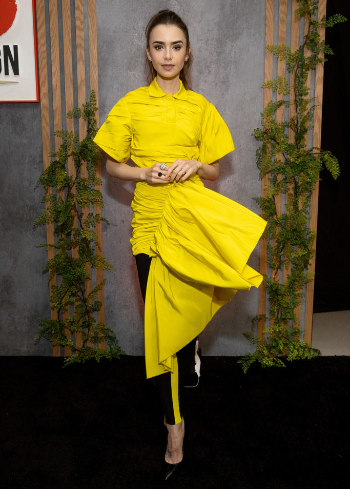 Lily Collins Wore AZ Factory To The 2021 Go Gala