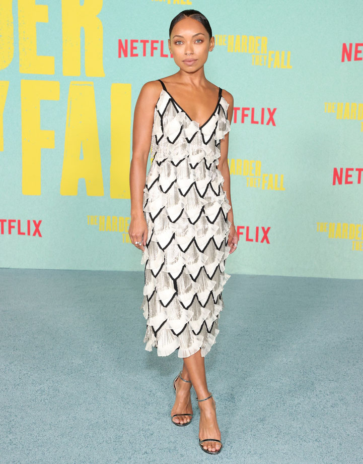 Logan Browning in Carolina Herrera- 'The Harder They Fall' LA Premiere