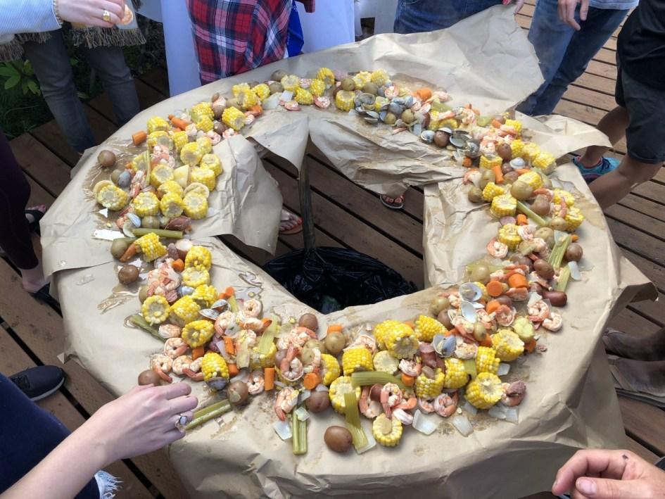 family party idea - shrimp boil on an outdoor deck