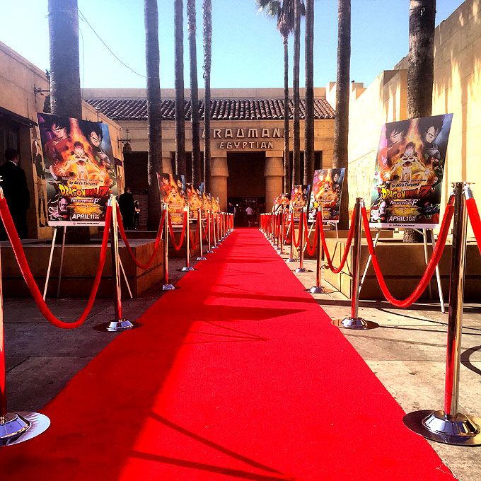 dragonballzpremiere 2   Red Carpet Systems Red carpet  red rope  stanchions and movie posters for Hollywood movie  premiere