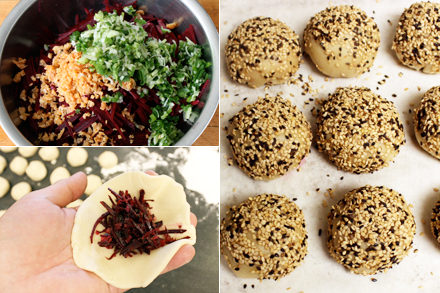 Wrapping Beet Puffs