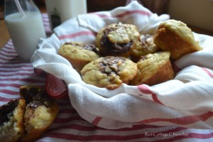 Chocolate Hazelnut Banana Swirl Muffins