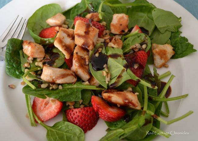 Chicken, Spinach & Strawberry Salad