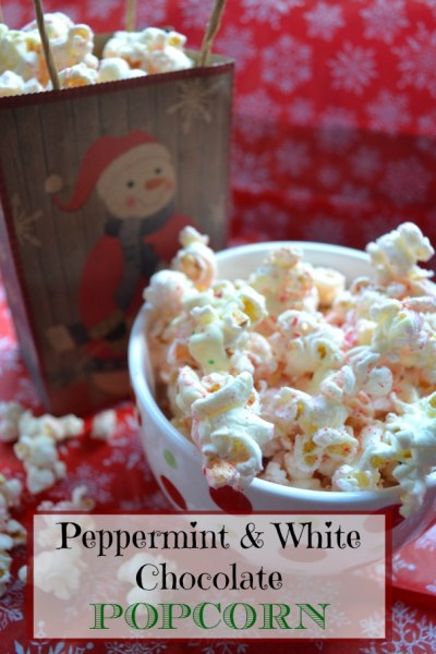 Peppermint Popcorn with White Chocolate Drizzle