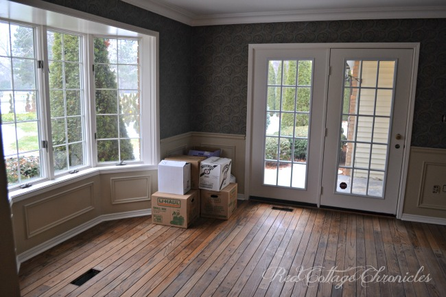 A coat of paint lightens and brightens a dark, dated dining room