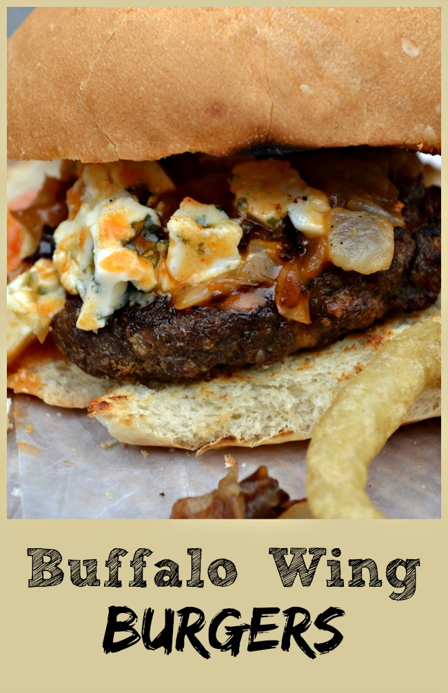 Buffalo Wing Burgers with Chunky Blue Cheese #SundaySupper