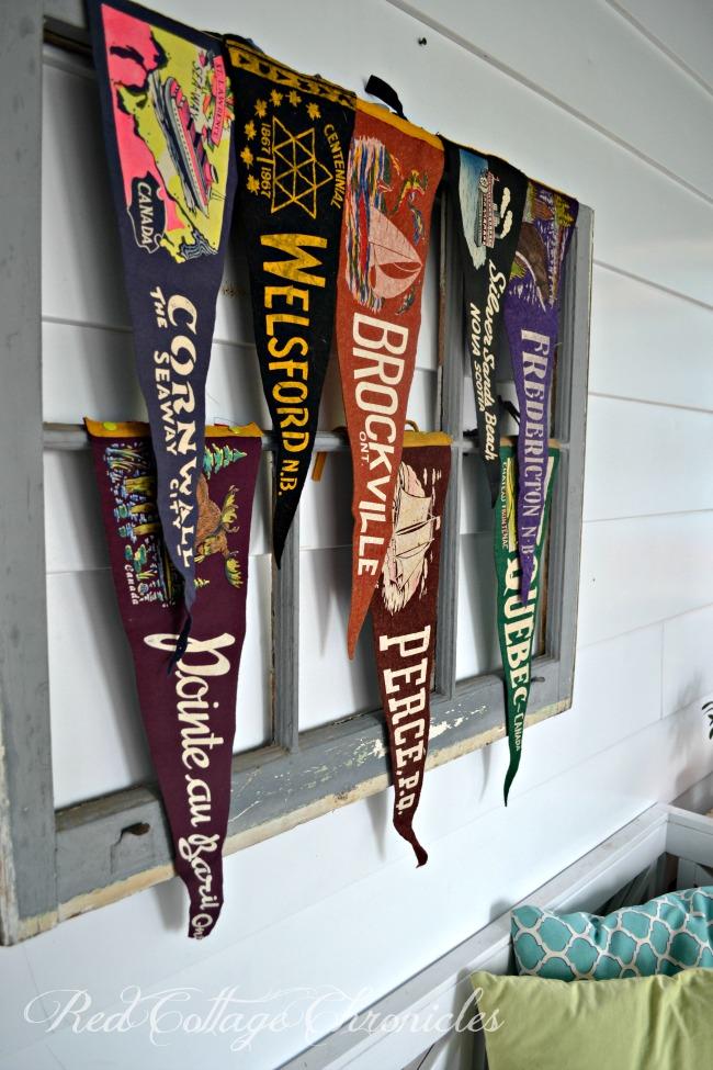 Thrift store decor vintage pennants display