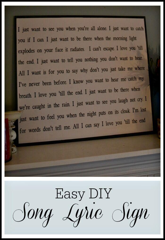Make this diy song lyrics sign no sign painting skills required