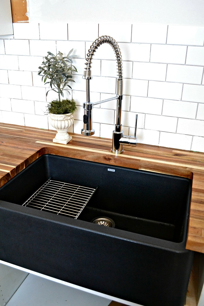 Superior Blanco Silgranit IKON Black Farmhouse Sink