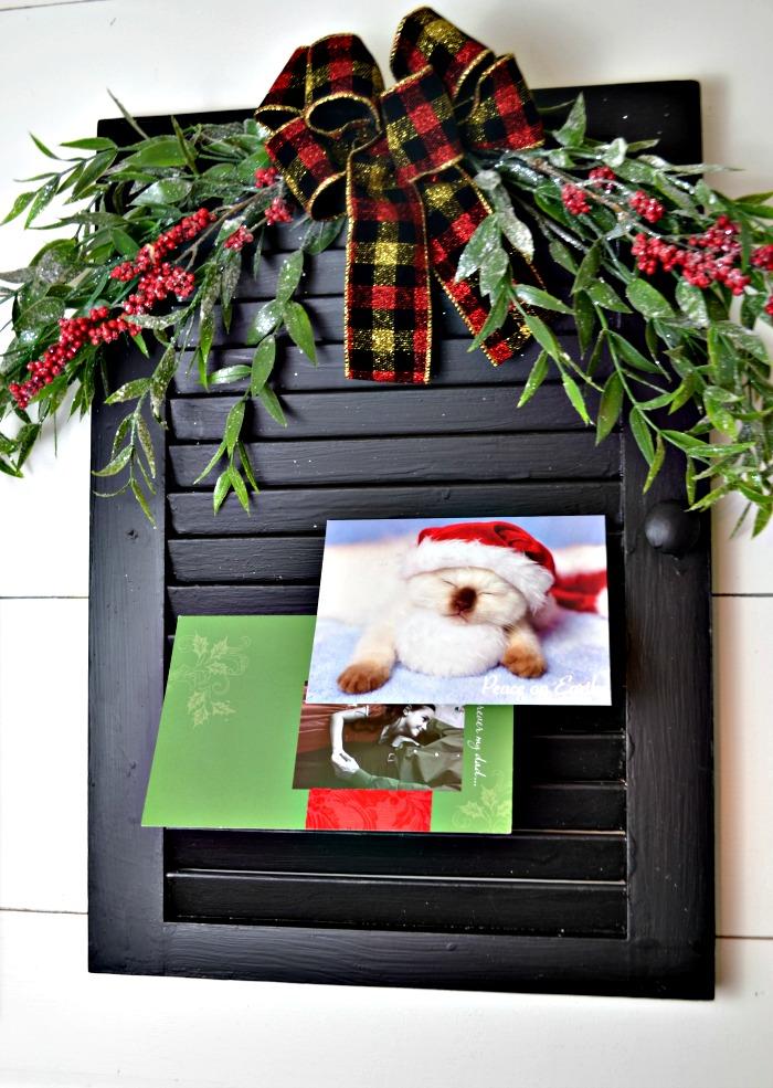 Upcycled shutter Christmas Card Holder