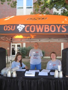 Volunteer staff manning the information and water booths.  This is one of many stationed across campus.