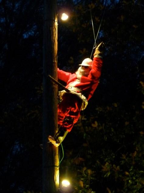 Santa on electric pole