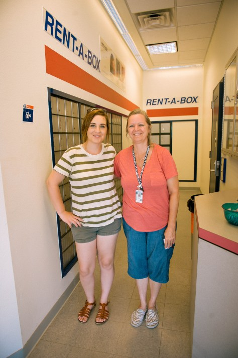 April Kirby, EPOTM videographer, and Mary Luman at the Camargo, OK Post Office — Photo by Rachel J Apple