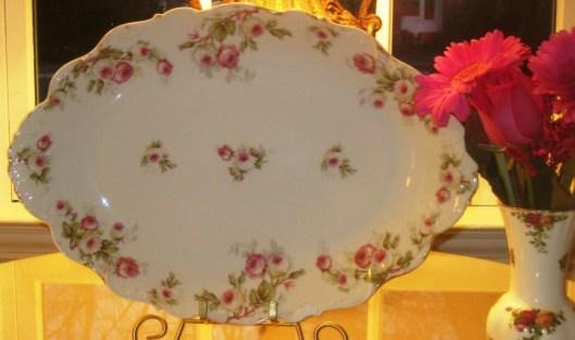 pink rose limoges platte