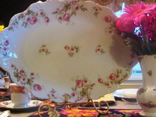 pink rose limoges platter