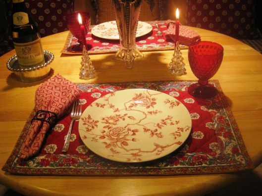 red plate kitchen table