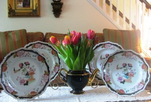 black floral plates long view