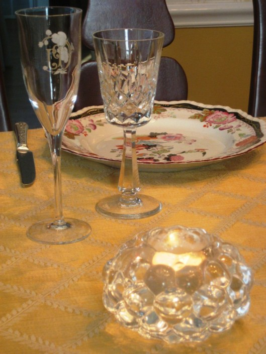 crystal stemware and votive