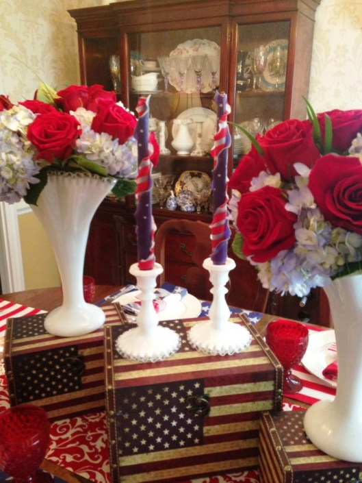 centerpiece-candle sticks and boxes