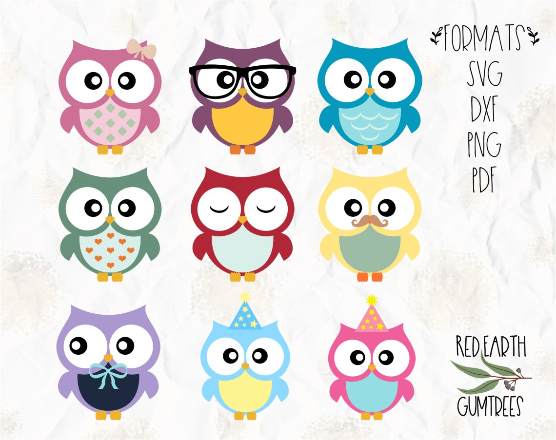 Download Colorful Party Owls collection in SVG, PDF, DXF, PNG ...