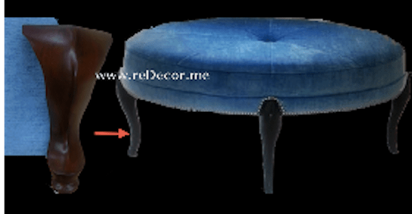 furniture design, foot stool - coffee table tailor made blue