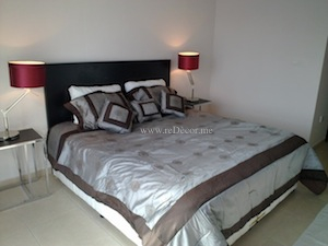 grey brown red bedroom interior downtown dubai