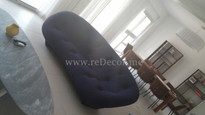 Living room with ligne roset blue sofa Rak interior decor design consultation dubai
