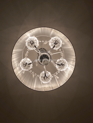 beautiful crystal chandelier for Dressing room, beige and white, roses wallpaper, Interior design dubai