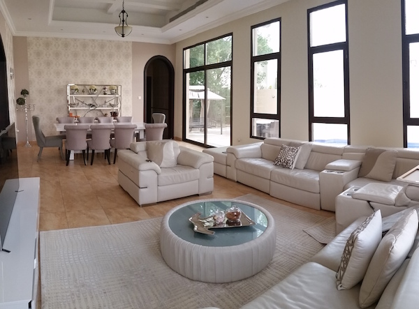 beige white living dining, wallpaper, simple beauty, Dubai Interiors and decor