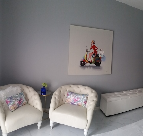 guest bedroom decor, white furniture, artwork, Dubai, Jotun paint