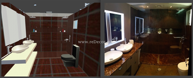 Master bathroom renovation, 2 showers, walk in, marble shower, tops, Interior design by Erika Pace