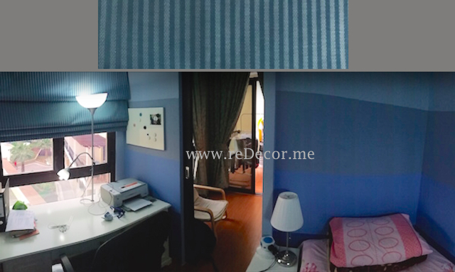 Boys room design, decor, blue room, blue stripes, Dubai, extra built room