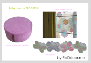 baby girl room with lime green purple pink
