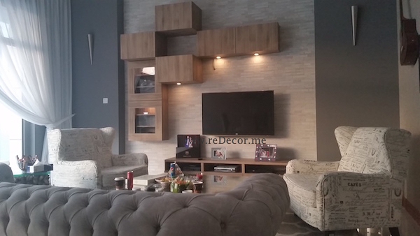 living room, stone wall, contemporary design, style, consultation dubai