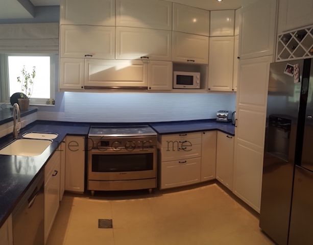 modern off white kitchen, remodelling, modern, white with blue counter, design dubai
