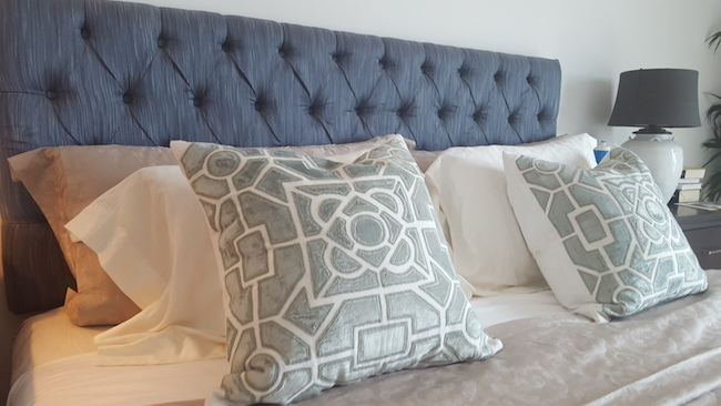 Master bedroom decor, design, Meroe linnen, blue, design by erika pace, dubai , victory heights