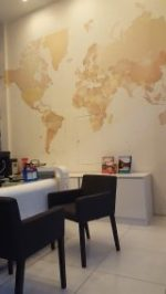 travel shop design, decor, dubai, interiors, fitout , turn key, perswall clouds, map wallpaper, dnata, cruises