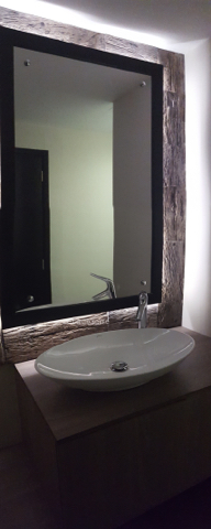 fit out bathrooms dubai, renovation, remodelling, design powder room motorcity, dubai, stone slabs like wood, 3D tiles, mirror light, recycle