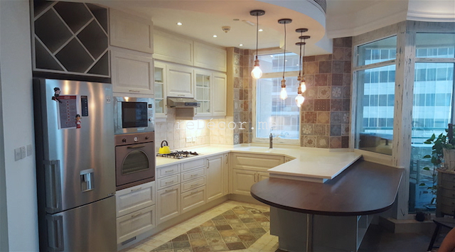 kitchen fitout dubai, dubai kitchen design, louvered cabinets, corian work top, consultation, dining kitchen, french decor tiles,dubai marina crown, top bar lighting, built in one piece basin