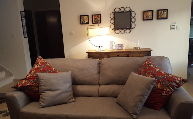 quality carpets, budget , home quick makeover, arabian ranches, dubai, designer consultation, grey and red, cozy, irish family, artwork, eclectic style, upholstery sofa, wallpaper, console decor, living room mirror