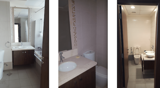 bathroom fit outs dubai, remodelling, renovation, modern, business bay, executive towers, design, practical, storage, mosaic, airy, bathroom lighting