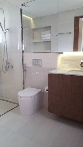 bathroom fit out dubai, remodelling, Master, 2nd bedroom and guest room bathroom remodelling, fitout dubai, bathroom fitout, design, consultation, practical, sliding shower doors, mirror cabinets, springs villa 4M, built in shower shelves, before and after bathrooms, tiny bathroom with walk in shower, marble counter
