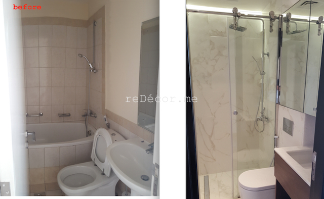 bathroom fit out dubai, remodelling, Master, 2nd bedroom and guest room bathroom remodelling, fitout dubai, bathroom fitout, design, consultation, practical, sliding shower doors, mirror cabinets, springs villa 4M, built in shower shelves, before and after bathrooms, tiny bathroom with walk in shower