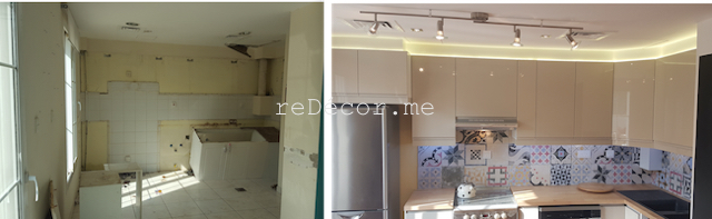before and after kitchen renovation, modern ikea kitchen with wooden counter in springs,remodelling-kitchen-french-decor-dubai fit out