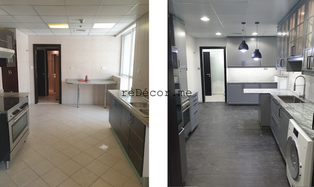 styling homes with vinyl flooring dubai marina sail fitout  kitchen remodeling dubai interiors grey with black kitchen with small island and pantry