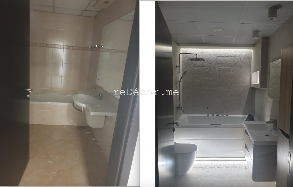 master bathroom renovation in dubai marina, marina sail, fitout, remodelling, renovation, dubai interiors, bathroom design, led lighting bathroom, bathroom walk in shower, basin vanity