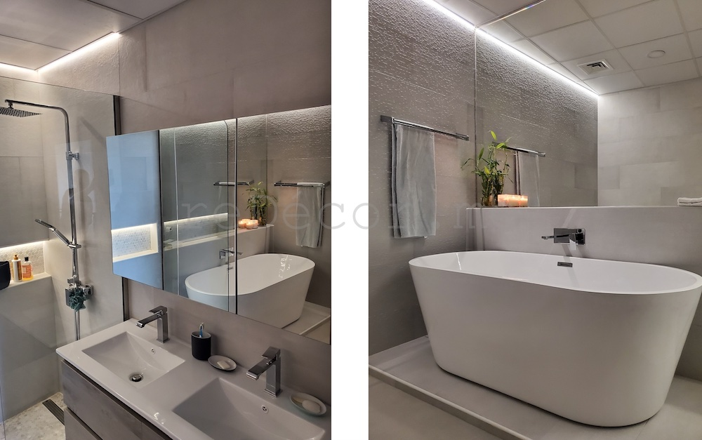 Dubai motorcity master bathroom renovation, interior designer dubai, dubai fitout, budget fitout, walk in shower , led lighting in the bathroom