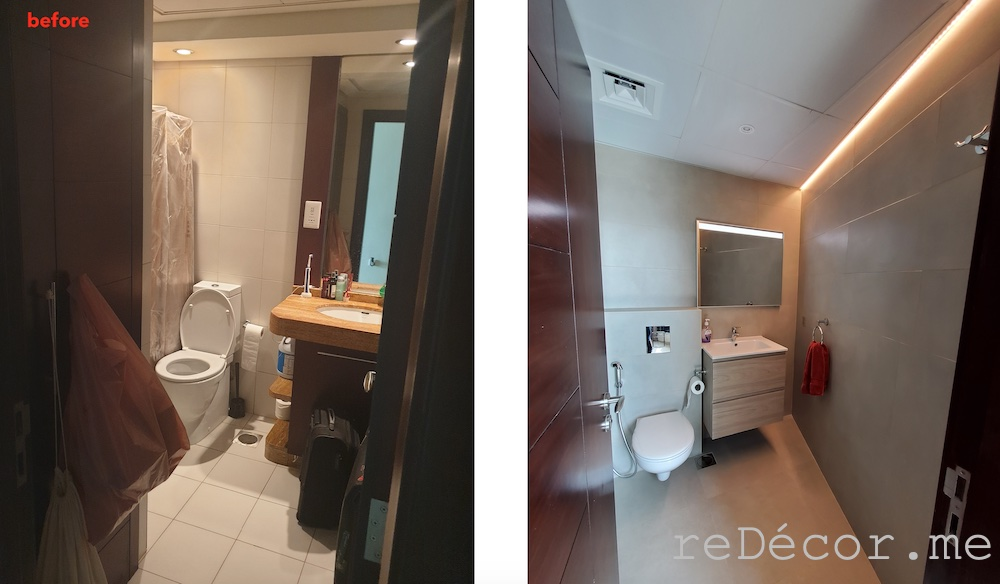 Downtown burj views bathroom renovations before and after, master bathroom with a walk in shower, lighting
