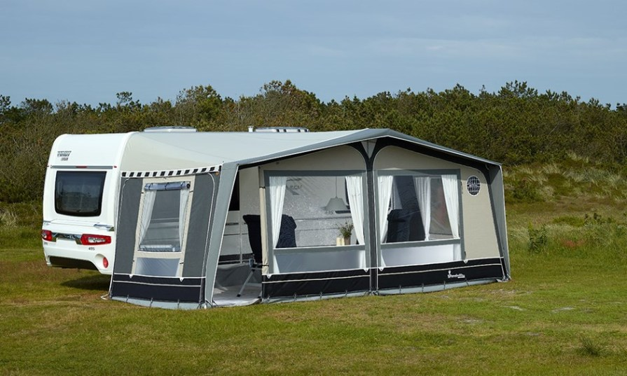 caravan awning attached to tent