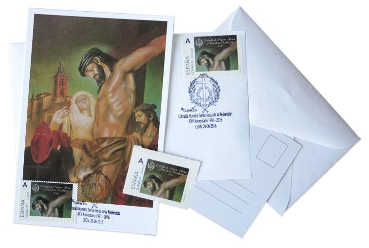 Conjunto de sello, matasellos y postal